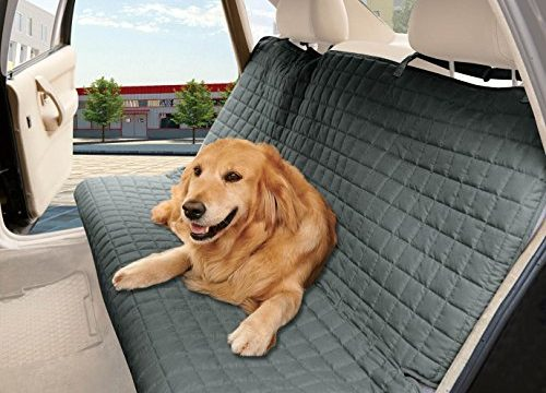 TIES TO STOP SLIPPING OFF THE BENCH , Gray – Elegance Linen® Quilted Design %100 Waterproof Premium Quality Bench Car Seat Protector Cover Entire Rear Seat for Pets