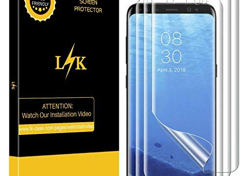 LK 3 PACK for Samsung Galaxy S8 Screen Protector Case Friendly, Full Coverage PET Soft Flexible TPU film with Lifetime Replacement Warranty-Clear