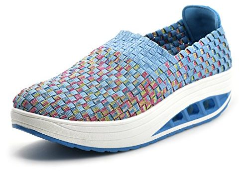 SUDILO Women's Ultra Lightweight Multicolor Woven Fashion Sneakers Casual Breathable Slip-on Shoes Blue