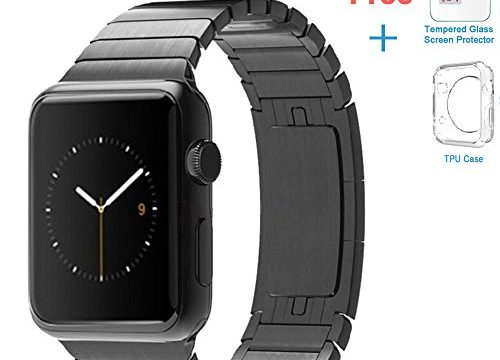 eoso Apple Watch Link Band, Stainless Steel Replacement Smart Apple Watch Band Link Bracelet with Double Button Folding Clasp for 38mm Apple Watch All Model Bracelet Black, Apple Watch 42 mm