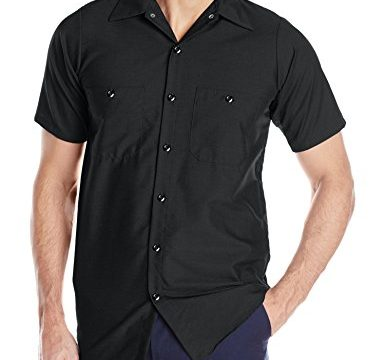 Red Kap Men's Industrial Work Shirt, Regular Fit, Short Sleeve, Black, Large