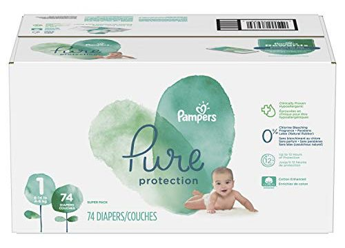 Pampers Pure Disposable Baby Diapers, Hypoallergenic and Fragrance Free Protection, SUPER – Diapers Newborn / Size 1 8-14 lb, 74 Count