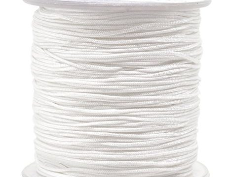 Mandala Crafts Nylon Satin Cord, Rattail Trim Thread for Chinese Knotting, Kumihimo, Beading, Macramé, Jewelry Making, Sewing 1mm, 109 Yards, White