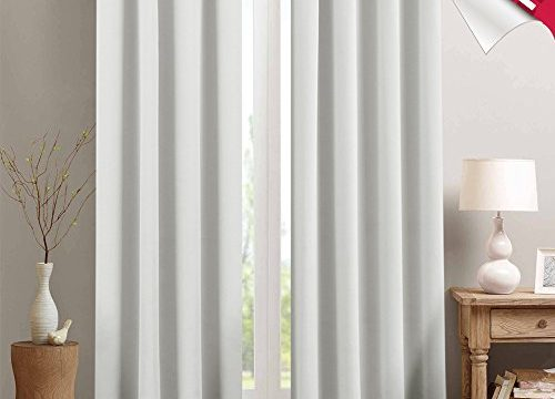 Moderate Blackout Curtains for Bedroom Room Darkening Window Curtain Panels for Living Room 84 inches Long Thermal Insulated Grommet Top Triple Weave Drapes, 1 Panel, Greyish White
