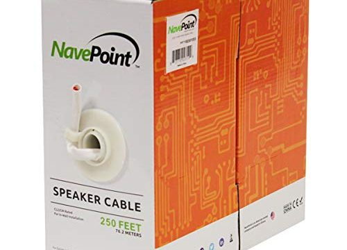 NavePoint 250ft in Wall Audio Speaker Cable Wire CL2 14/2 AWG Gauge 2 Conductor Bulk White