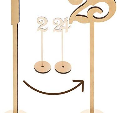 Best for Receptions, Banquets, Cafés, Restaurants, Hotels, Parties – 13.5″ Tall Large Extra Thick Heavy Duty Commercial Grade Quality Wood – Wooden Wedding Table Numbers 1-25 Pack – Merry Expressions
