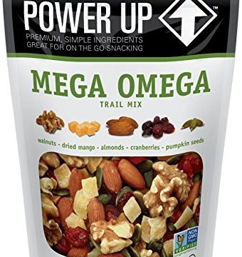 Power Up Trail Mix, Mega Omega Trail Mix, Non-GMO, Vegan, Gluten Free, No Artificial Ingredients, Gourmet Nut, 14 oz Bag