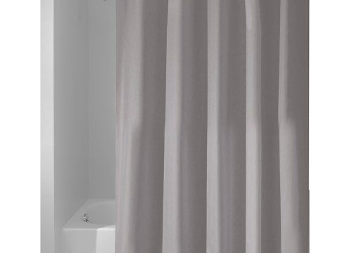 InterDesign Fabric Shower Curtain, Long Water-Repellent and Mold- and Mildew-Resistant Liner for Master, Guest, Kid's, College Dorm Bathroom, 72″ x 84″, Gray