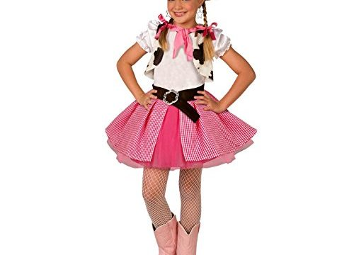 Small Age 3-5 – Kids Cowgirl Costume Cute Girls Pink Western Rodeo Dress Up
