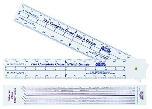 Count stitches, determine dimensions and where to start designBonus floss number comparison chart – Scales for 12 fabric counts – Complete Cross Stitch Gauge