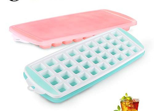 2 Pack Food Grade Silicone Ice Tray BPA-Free Ice Cube Molds, Easy-Release Ice Trays Make 72-Ice Cube, Stackable Ice Mold Set to Chilled Whiskey Beverages Cocktails – Ice Cube Trays with Lid