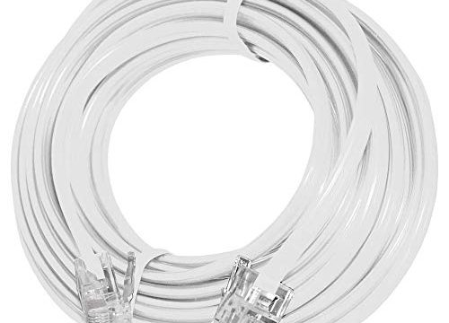 15′ Feet Telephone Extension Cord Cable Line Wire, White RJ-11 by True Decor